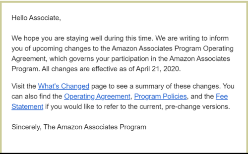 Amazon email informing affiliates commissions have been slashed