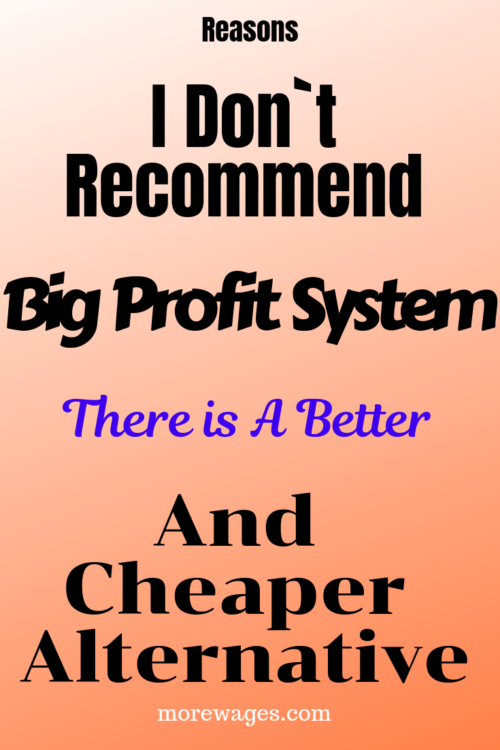 Reasons I do not recommend big profit system as a way to make money online