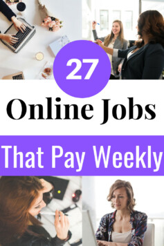 Need online jobs that pay weekly? Here are work at home jobs that pay on a weekly basis.Start these jobs that pay fast while working at your convenience. #makemoney #onlinejobs#extraincome#