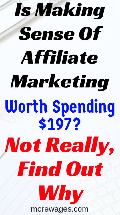Making Sense Of Affiliate Marketing Review,why I find the program over priced,training for beginners and generally nothing you can not find free online.So if asked, the answer is no, I will not invest in Michelle`s Making Sense Of Affiliate Marketing.