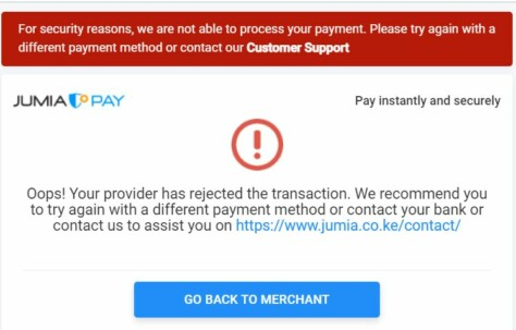 Jumia shopping payment issues